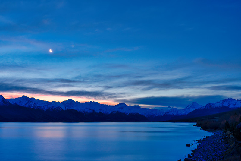 Crescent Moon and Mt. Cook