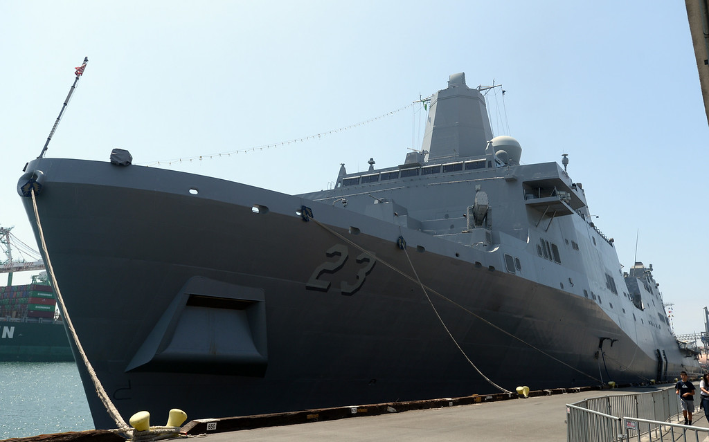 . People take a tour of the USS Spruance, an Arleigh Burke-class guided missile destroyer, which is docked in the Port of Los Angeles for Navy Days.   The USS Anchorage is also docked for Navy Days. Saturday, August 09, 2014, San Pedro, CA.   Photo by Steve McCrank/Daily Breeze