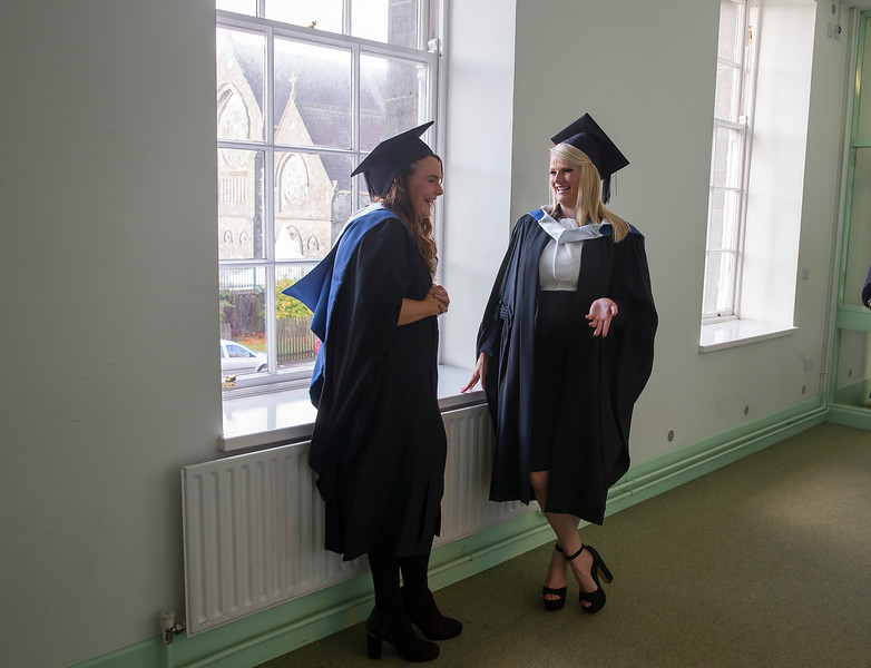 28/10/2015. FREE TO USE IMAGE. WIT (Waterford Institute of Technology) conferring ceremony at WIT College Street Campus, Waterford. Pictured are Karen Biggane, Limerick and Nicola Hitchinson from Waterford who graduated Bachelor of Arts in Legal Studies. Picture: Patrick Browne