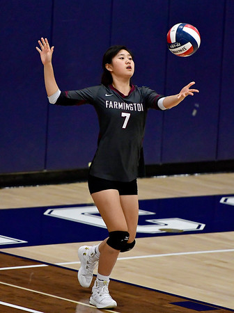11/1/2018 Mike Orazzi | Staff Farmington High School's Amy Jia (7) during the CCC Volleyball Tournament held at Avon High School Thursday night.