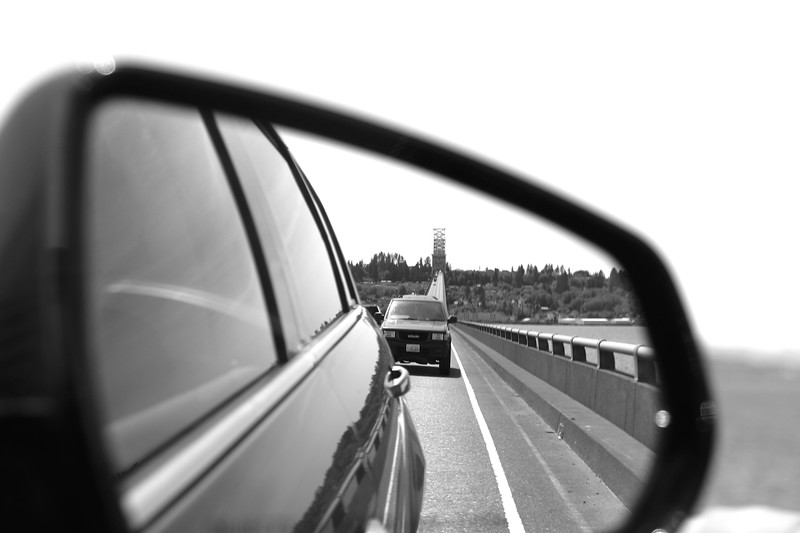The bridge in the rearview mirrow