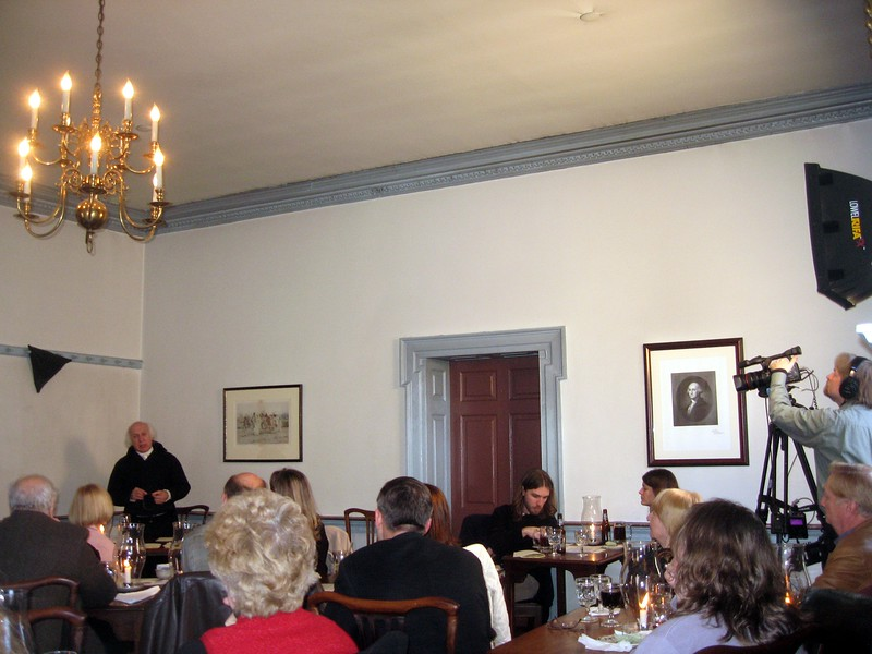 At a salon with President James Madison (portrayed by John Douglas Hall), at the Gadsby's Tavern Museum (3/27/11)
