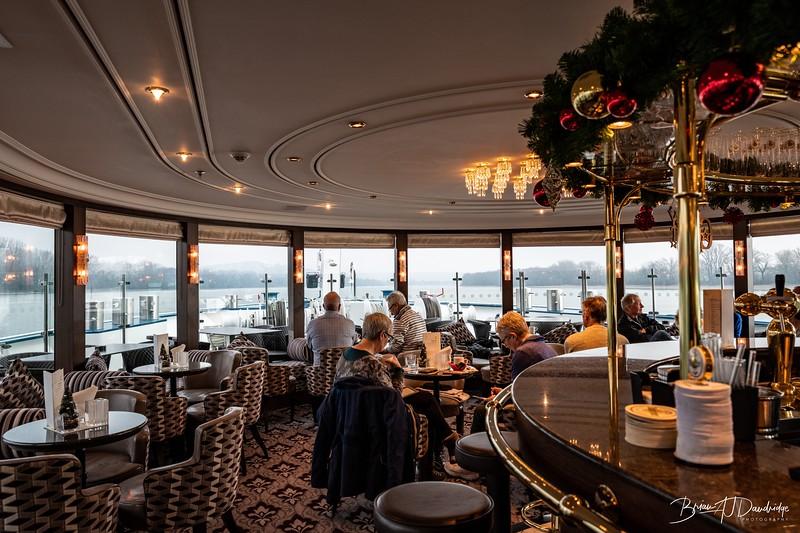 The bar area on board the river cruiser, Thomas Hardy
