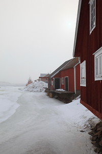 Fishing village in winter