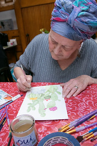 Watercolor class at Fitchburg Senior Center, March 6, 2020