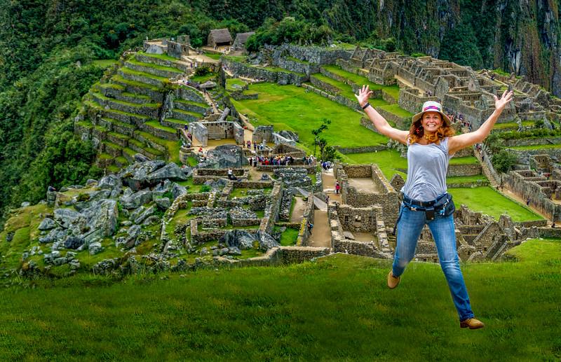 Enjoying splendid Machu Picchu.