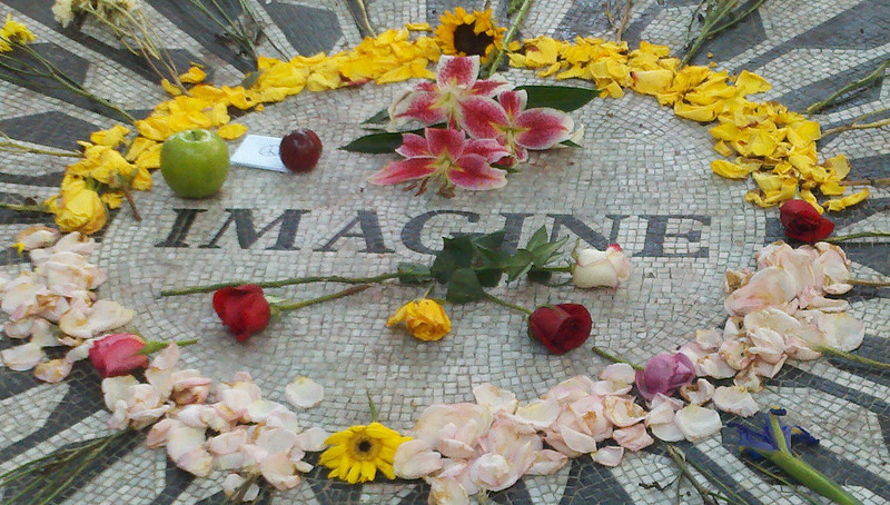 The section of Central Park called Strawberry Fields in memory of John Lennon.