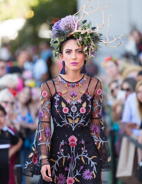 Flower Couture Runway Show at World of Frida at the Bedford Gallery photographed by Sam Breach