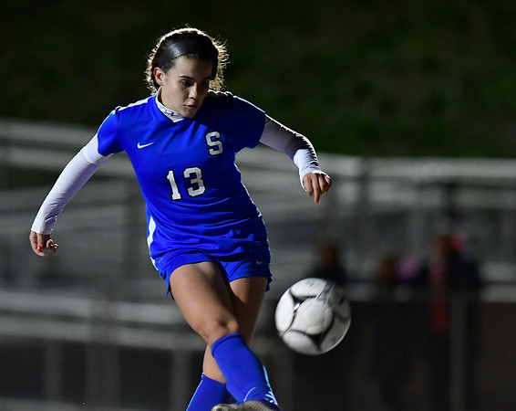 11/19/2019 Mike Orazzi | StaffrSouthington High Schools Maya Wroblewski (13) scores against Ridgefield during the Class LL Semifinal Girls Soccer match at Naugatuck High School Tuesday night. rr