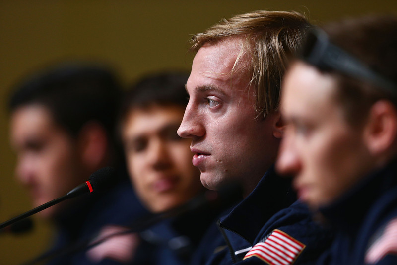 . (L-R) United States speed skating silver medalists Eduardo Alvarez, J R Celski, Christopher Creveling and Jordan Malone look on during a USOC Press Conference on day 15 of the Sochi 2014 Winter Olympics at the Main Press Center (MPC) on February 22, 2014 in Sochi, Russia.  (Photo by Clive Mason/Getty Images)