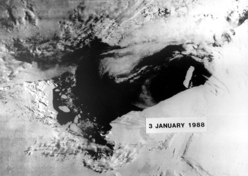 . 1988: The Endangered Earth. The number of icebergs breaking away from Antarctica seems to be increasing a Government ice expert said. The increase of icebergs may be a result of the rising temperature of the planet. This satellite picture taken on January 3,1988 is of B-9, the gigantic iceberg estimated to be nearly 800 feet thick and 83 by 19 miles in size, separated from the land mass.  Some scientists believe the temperature increase, amounting to one or two degrees Fahrenheit in the last century, could lead to major climatechanges.  (AP Photo)