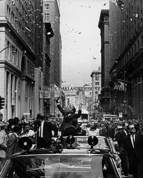 . San Francisco, CA September 5, 1968 - Ticker tape rains down on Nixon\'s motorcade on Montgomery Street in the Financial District. (Bill Crouch / Oakland Tribune Staff Archives)