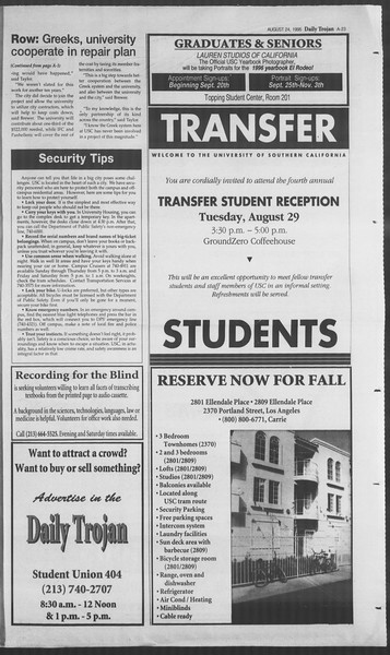 Daily Trojan, Vol. 126, No. 1, August 24, 1995