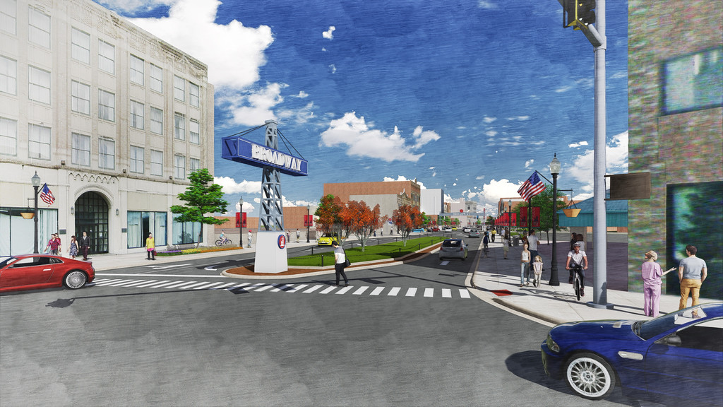 . Submitted illustration - The Collaborative/City of Lorain <br> This illustration shows the view of Broadway streetscape at the intersection of West Erie Avenue. Lorain City Engineer Dale Vandersommen said the 2015 renderings of the Broadway illustrate how the plans would look for construction in 2018, although there are some changes to the lights and walkways.