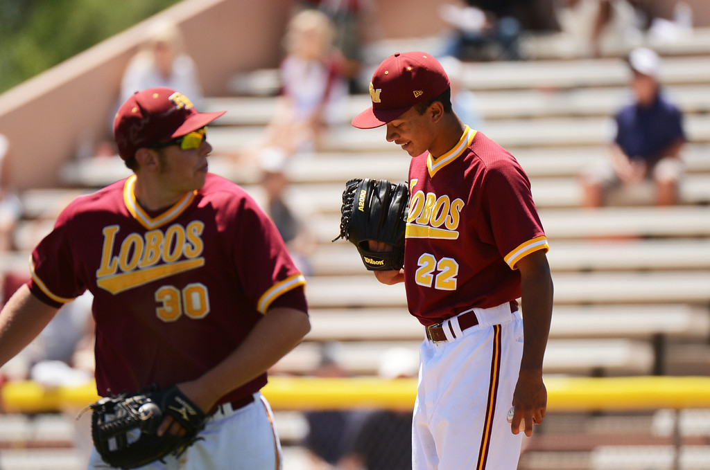 . DENVER, CO. - MAY 24 :Carl Stajduhar (3) and Grant Gamble  (22) of Rocky Mountain High School are in semifinal round of 5A State Championships baseball game against Grandview High School at All City Field. Denver, Colorado. May 24, 2013. Rocky Mountain won 8-6. (Photo By Hyoung Chang/The Denver Post)