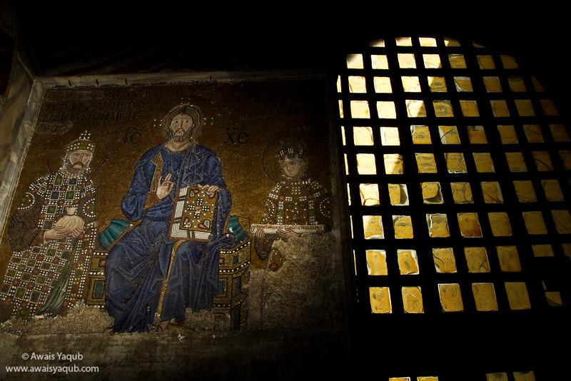 Jesus Mosaic inside Hagia Sophia,