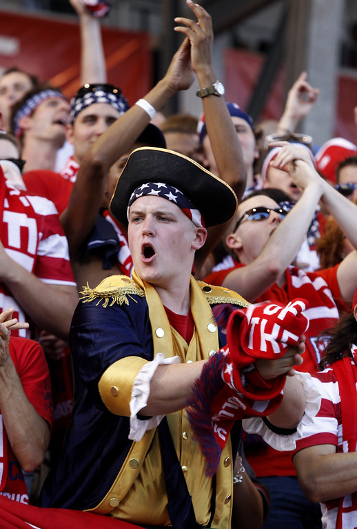 . USA fans chant before the start of the Brazil 2014 FIFA World Cup qualifier between UAS and Mexico at Columbus Crew Stadium in Columbus, Ohio, September 10, 2013.  AFP PHOTO / Paul VERNONPaul VERNON/AFP/Getty Images