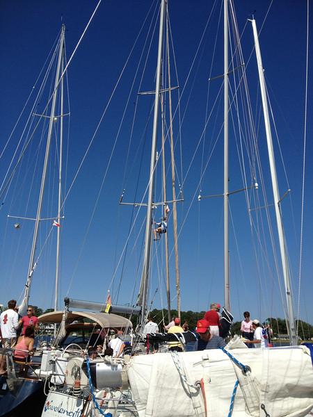 5/24 Open House Regatta Jon Deutsch climbing the mast