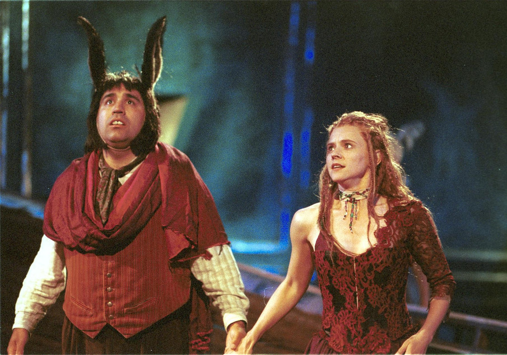 ". Pictured is a scene from Shakespeare Santa Cruz\'s production of ""A Midsummer Night\'s Dream.\"" In this scene, Tony A. Gomez, left, portrays \""Bottom\"" and Mhari Sandoval, right, portrays \""Titania.\""  The play will be directed by Tim Ocel. (Sentinel file)"