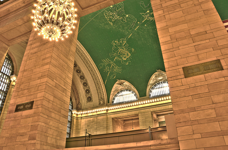 The ceiling of Grand Central Station's Great Hall.  Millions of photos have been taken of this ceiling, I was trying to capture it from a slightly less common angle.