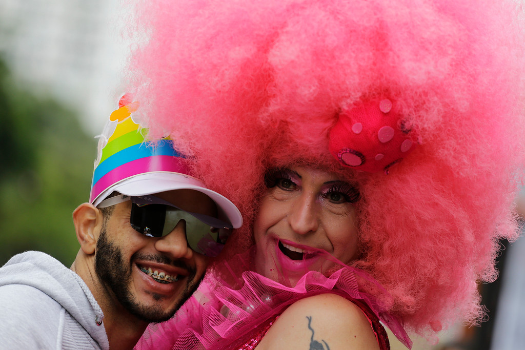 . Revelers in costume take part in the annual gay pride parade in Sao Paulo, Brazil, Sunday, June 3, 2018. (AP Photo/Nelson Antoine)