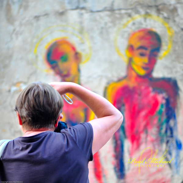 Photographing wall art.
