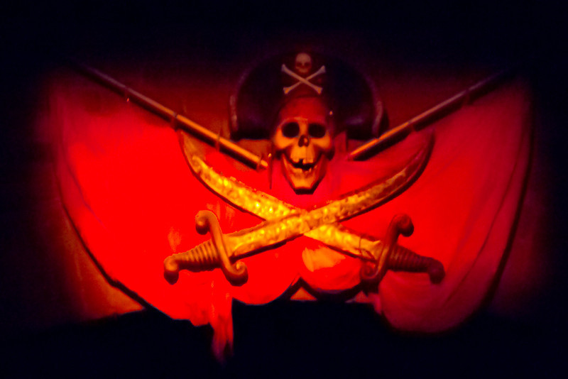 Warning Skull & Crossbones at the start of the Pirates Of The Carribean Ride