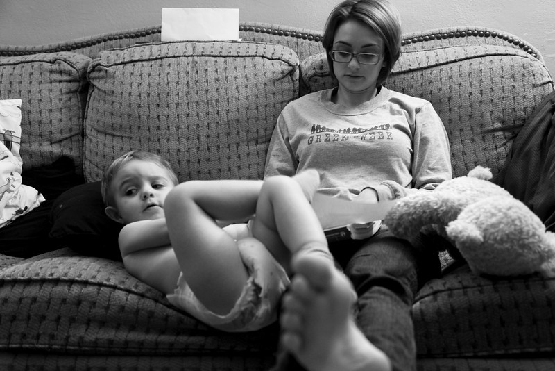 Jill and Hunter hanging out on the couch after a long weekend on September 7, 2010.  (Jay Grabiec)