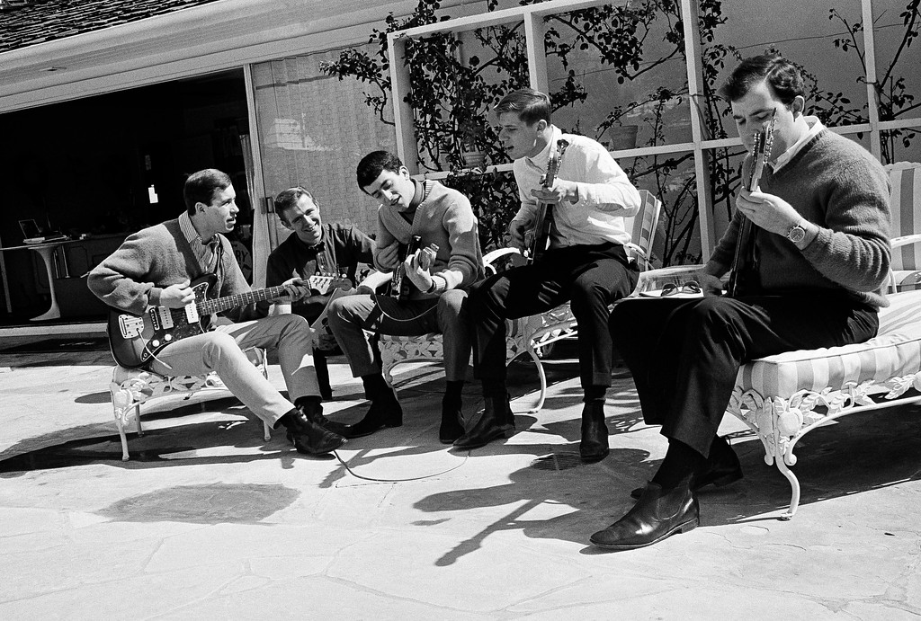 . Gary Lewis rehearses with his rock group The Playboys, April 13, 1965, at Lewis\' Los Angeles home. From left to right: David Costell, John R. West, Lewis, Dave Walker and Allan Ramsay. The Lovin� Spoonful, Gary Lewis & The Playboys, The Happenings� Bob Miranda and The Reflections will be at the Lorain Palace Theater on Oct. 28. For more information, visit lorainpalace.org. (AP Photo/Ellis R. Bosworth)