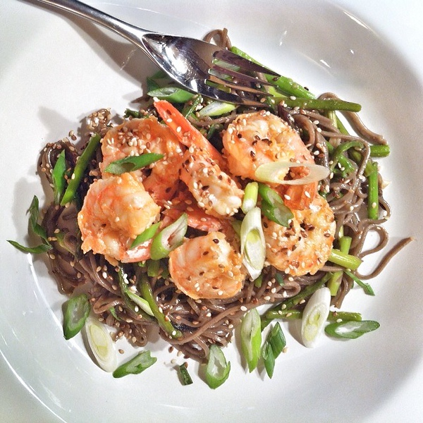 On the table tonite: Olive Oil-Poached Shrimp with Soba Noodles