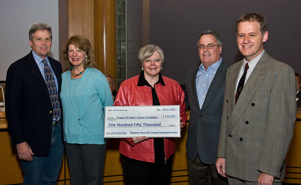 Chapel Hill Public Library Foundation presents $150,000 to the Town Council, Mar 23, 2009