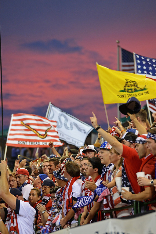 . Fans of the U.S. Men\'s National Team cheer as the game against Mexico gets underway at Columbus Crew Stadium on September 10, 2013 in Columbus, Ohio.  (Photo by Jamie Sabau/Getty Images)