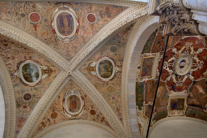 Interesting outdoor ceiling in Siena Italy, on a building I never identified.