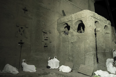 Pilgrims at the overnight Easter services, Bet Maryam, Lalibela