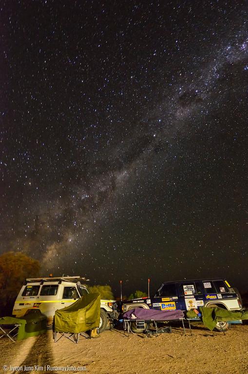 Camping under the deep sky in Birdsville, Australia.
