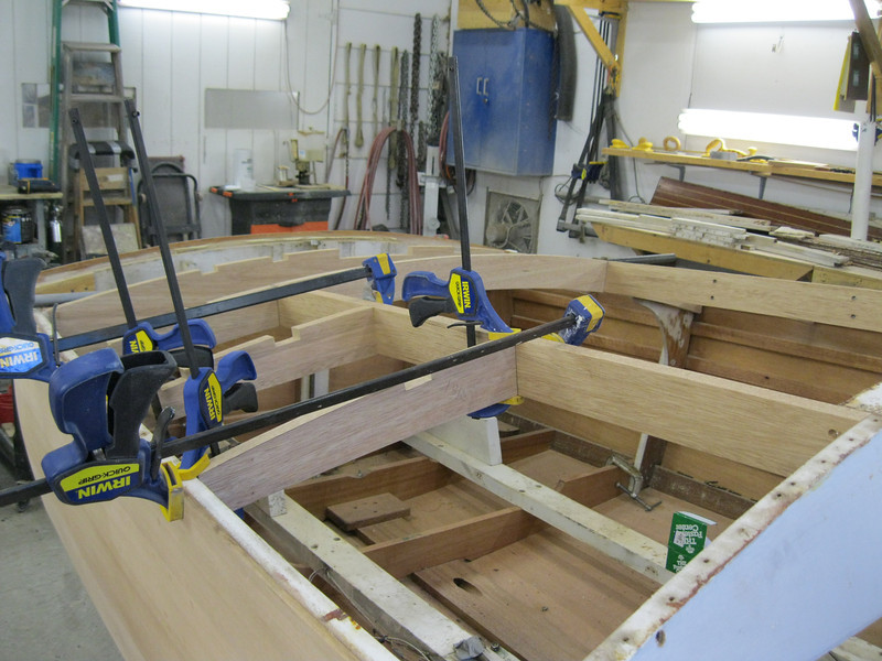 Starboard view of new deck frames.