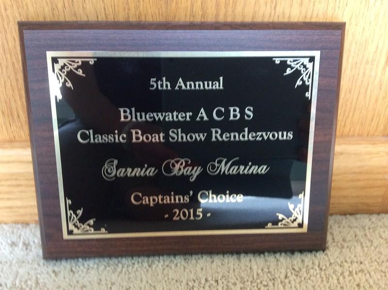 Tiger Lily won this award at the Sarnia Boat Show in July of 2015.