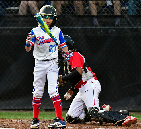 8/10/2019 Mike Orazzi | Staff New Jersey Elmora Youth Little League's Justin Labrador (27) during Saturday's Mid Atlantic Final baseball game with New York at Breen Field in Bristol, Conn.