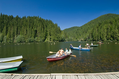 Lacu Rosu lake by Ceahlau Massif, Moldavia, Romania