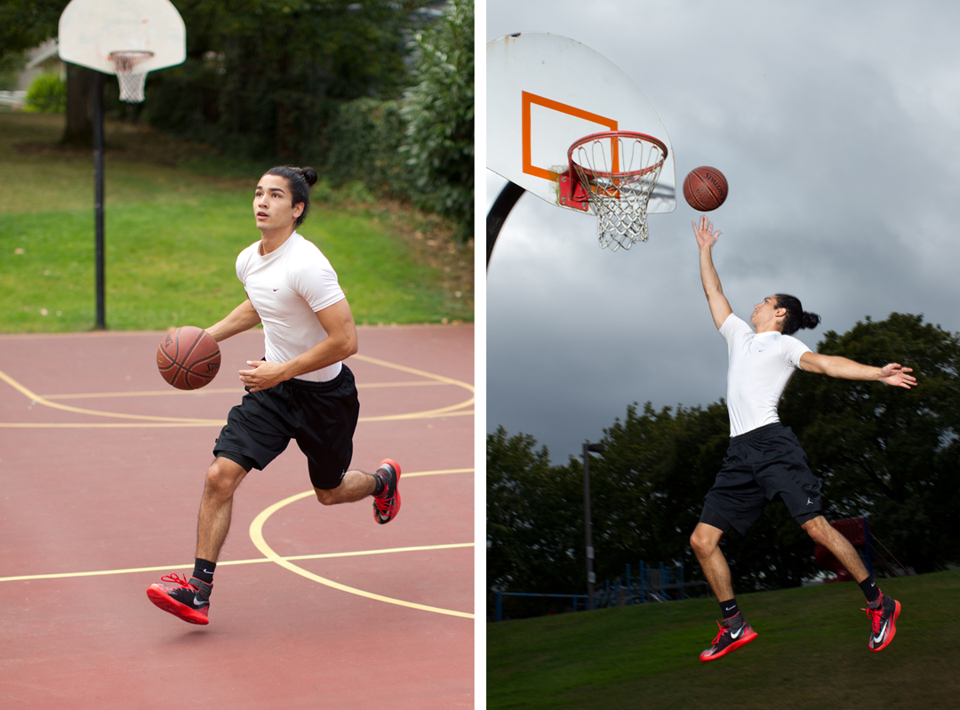 two basketball style photos of fitness model