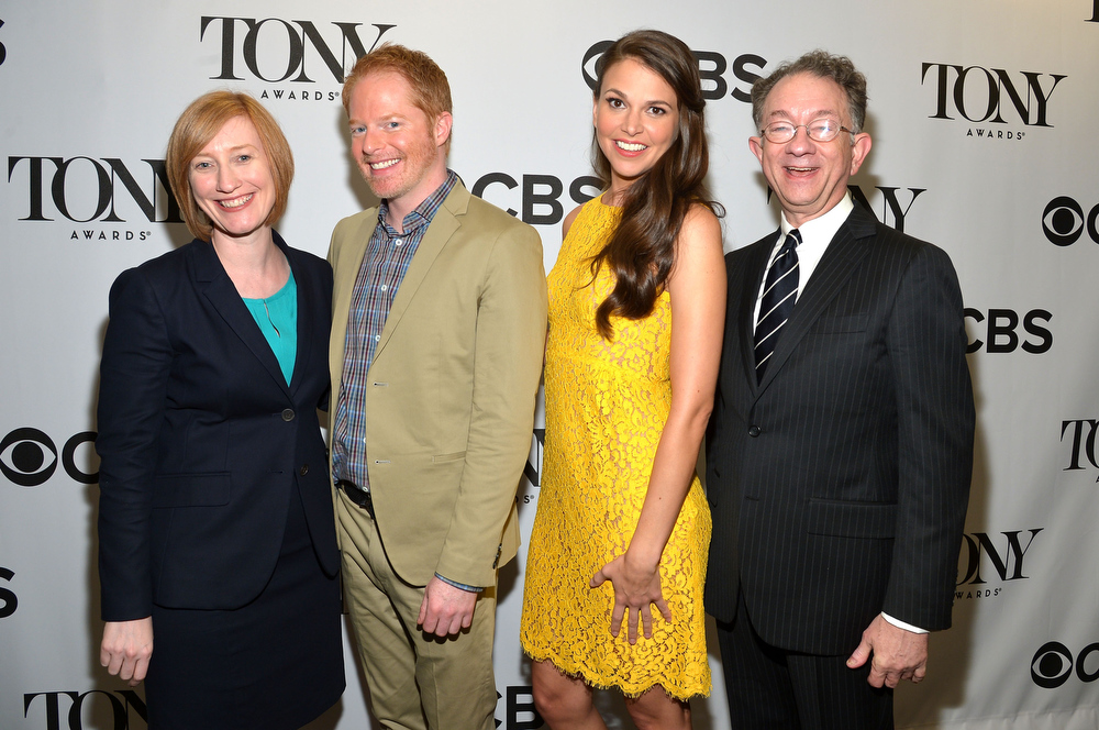 . Executive director, The American Theatre Wing Heather Hitchens, actor Jesse Tyler Fergusin, actress Sutton Foster and chairman, The American Theatre Wing William Ivey Long during the 2013 Tony Awards Nominations Ceremony at The New York Public Library for Performing Arts on April 30, 2013 in New York City.  (Photo by Mike Coppola/Getty Images for Tony Award Productions)
