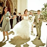 After wedding ceremony, bride with vera wang wedding gowns