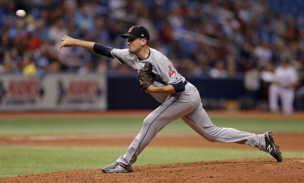. Cleveland Indians pitcher Dan Otero during the sixth inning of a baseball game against the Tampa Bay Rays Monday, Sept. 10, 2018, in St. Petersburg, Fla. (AP Photo/Chris O\'Meara)
