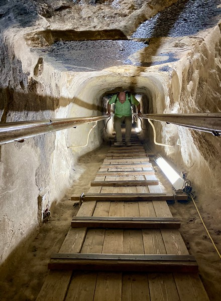 Inside the Great Pyramid of Khufu - coming back down from the climb into the King and Queen's chambers