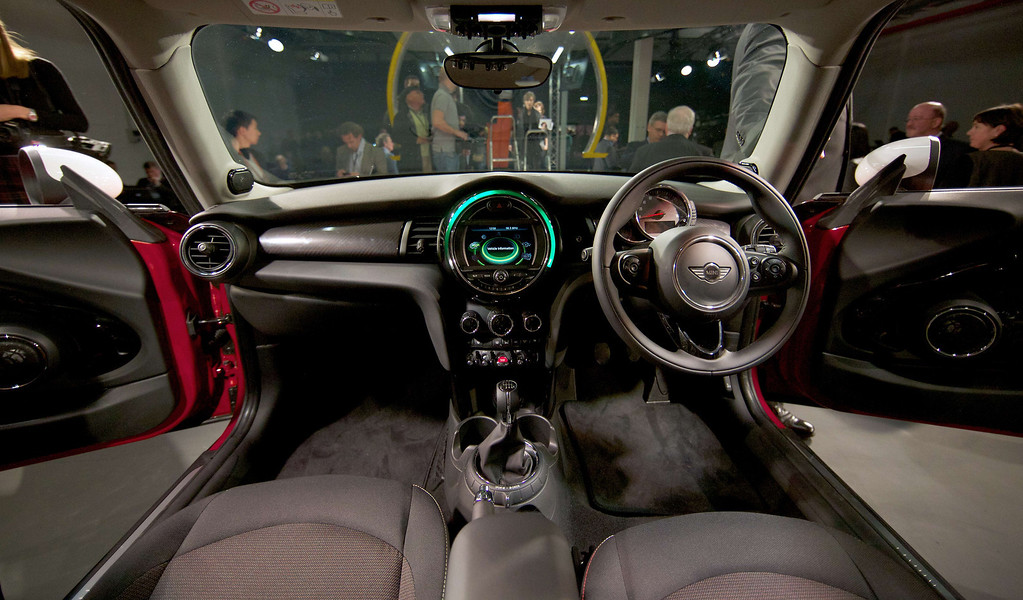 . A picture shows the interior of the new Mini Cooper during its official unveiling event at BMW\'s plant at Cowley in Oxford, central England, on November 18, 2013. Car giant BMW, which has been manufacturing the Mini since 2001, has finally taken the wraps off the  new Mini that will be available in the UK in Spring 2014. ANDREW COWIE/AFP/Getty Images