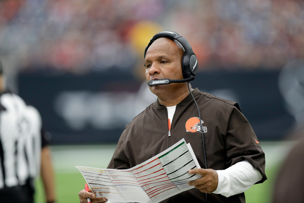 . Cleveland Browns head coach Hue Jackson watches play against the Houston Texans in the second half of an NFL football game, Sunday, Oct. 15, 2017, in Houston. (AP Photo/Eric Gay)