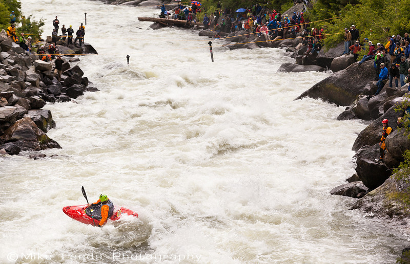 "Tyler Bradt boofing into ""Rodeo Hole"" in Jacob's Ladder during the North Fork Championship 2012"
