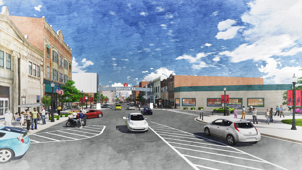 . Submitted illustration - The Collaborative/City of Lorain <br> This illustration shows the view of Broadway streetscape, looking south from the area south West Erie Avenue. Lorain City Engineer Dale Vandersommen said the 2015 renderings of the Broadway illustrate how the plans would look for construction in 2018, although there are some changes to the lights and walkways.