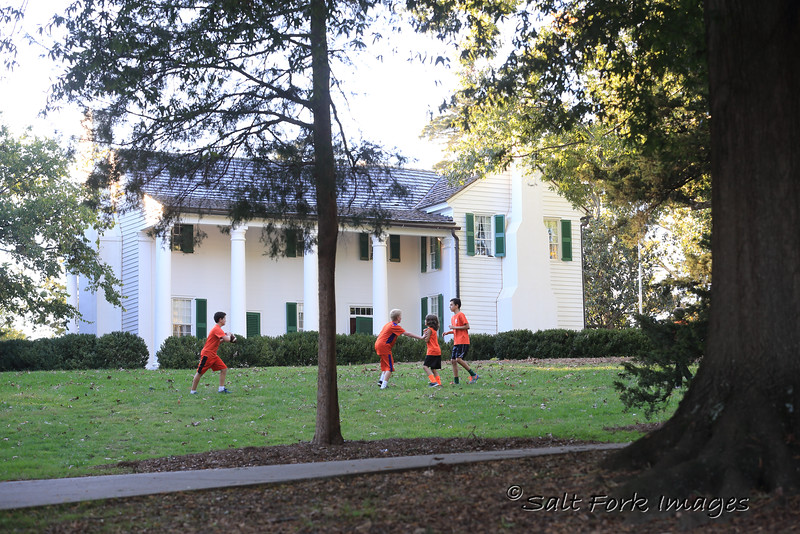 Kids enjoy the afternoon before the game in front of Fort Hill Plantation, the home of John C. Calhoun and Thomas Green Clemson