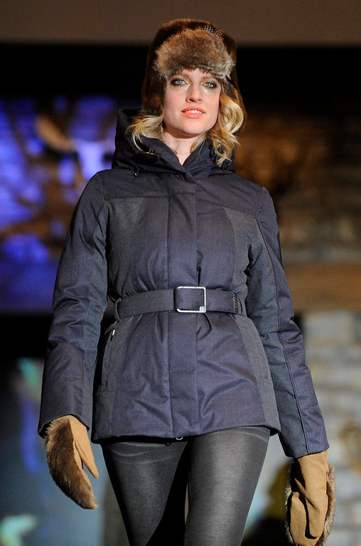 . Nobis navy Jillian jacket  with a cocoa fur trapper hat,  as the SIA Snow Show hosted its 2013 Snow Fashion & Trends Show at the Colorado Convention Center  in downtown Denver  on Wednesday, January 30, 2013.  (Photo By Cyrus McCrimmon / The Denver Post)
